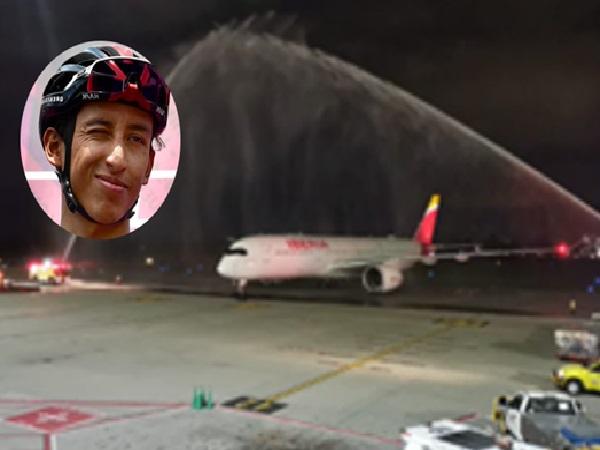 """A Egan lo recibieron con arco de agua en el aeropuerto y El Dorado tuvo que salir a aclarar el """"derroche"""" - Noticias de Colombia"""