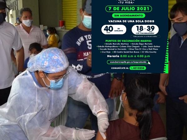 Vacunación masiva de una sola dosis sin agendamiento en Barranquilla, este miércoles - Noticias de Colombia